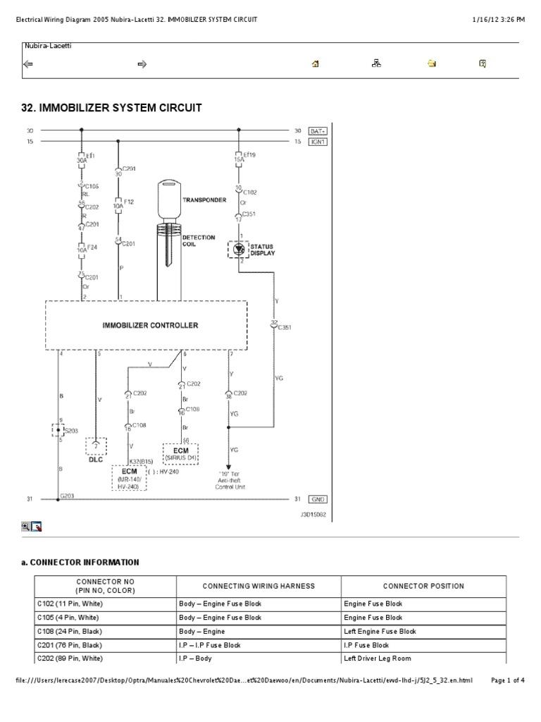 preview of u201celectrical wiring diagram 2005 nubira lacetti 32 rh scribd com