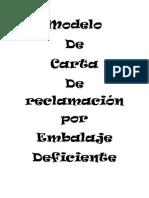 Modelo de Carta de Reclamación Por Embalaje Deficiente 5 de Marzo