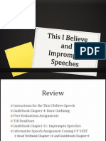 TIB and Impromtu Speech