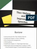 TIB and Impromtu Speech
