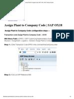 Assign Plant to Company Code _ SAP OX18 – SAP Training Tutorials