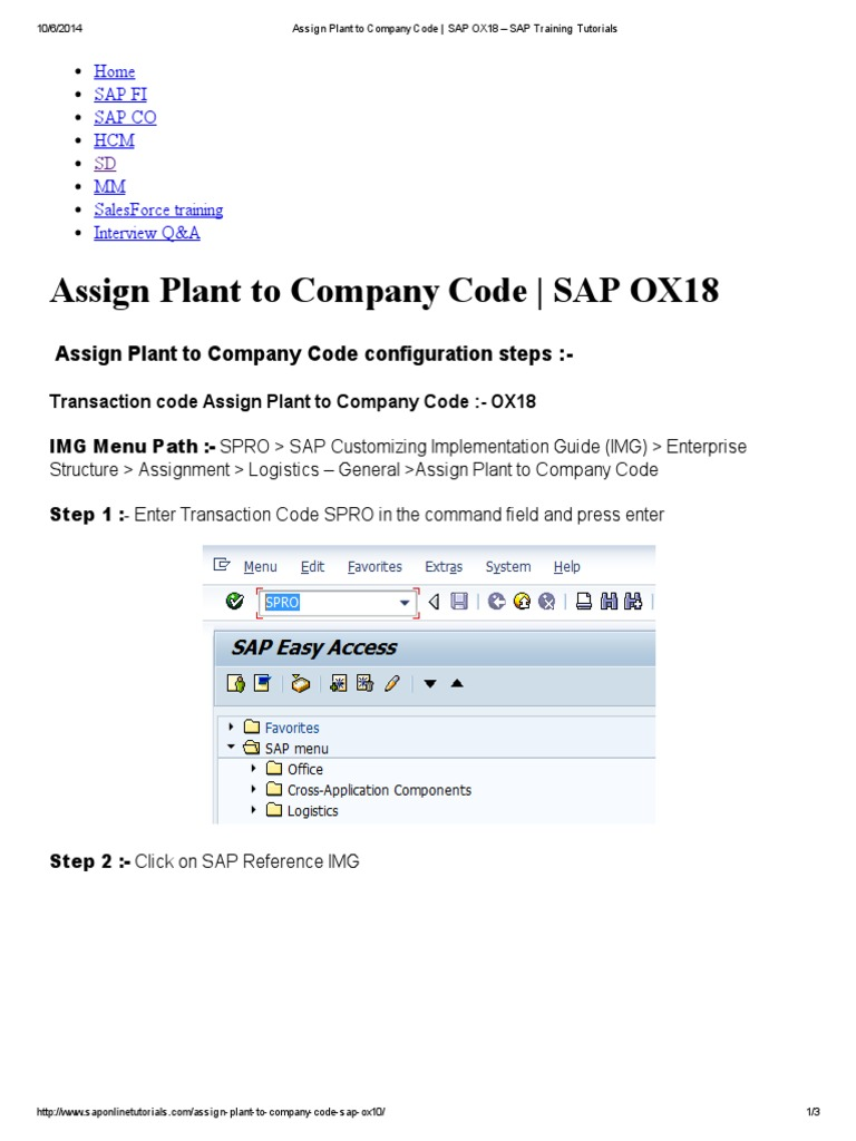 Assign Plant to Company Code configuration steps: