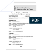 Governor Pat McCrory's Public Schedule for Wednesday, September 24, 2014