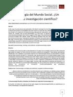 Fenomenología Del Mundo Social. Ulises Toledo