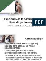 Funciones de La Administracion Tipos de Gerentes