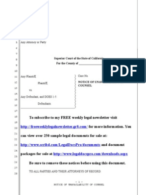Sample Notice of Unavailability of Counsel for California
