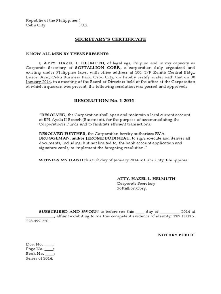 secretary u0026 39 s certificate to open a bank account