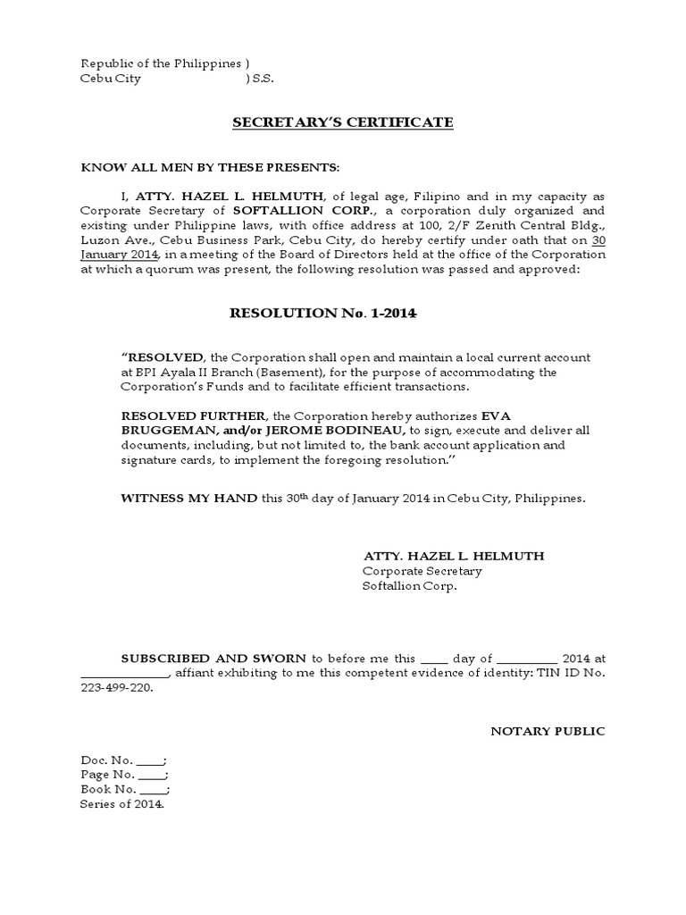 Secretarys certificate to open a bank account yadclub Gallery