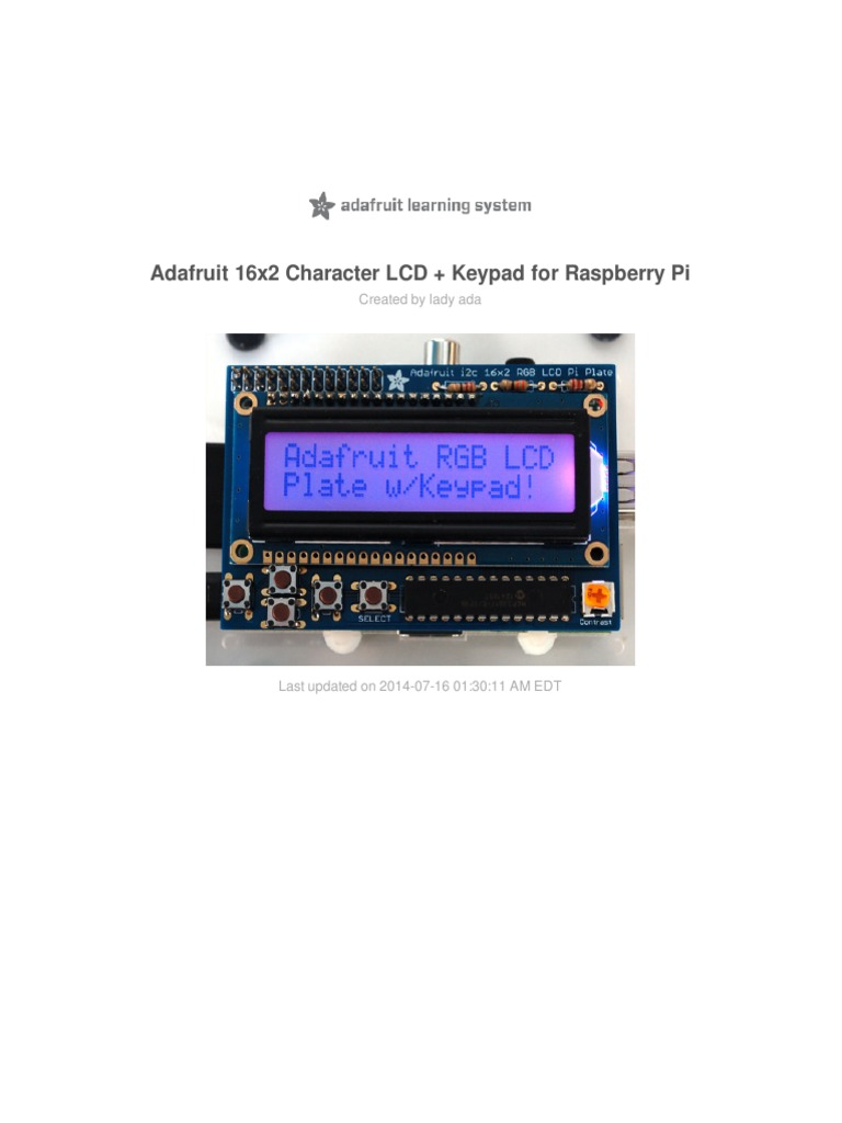 Adafruit 16x2 Character Lcd Plus Keypad for Raspberry Pi