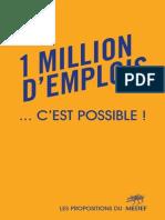 Livre Jaune 1 Milion Emplois c Est Possible MEDEF 2014