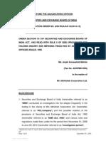 Adjudication order in respect of Ms. Anjali Annasaheb Mohite in the matter of M/s Abhishek Corporation Ltd.