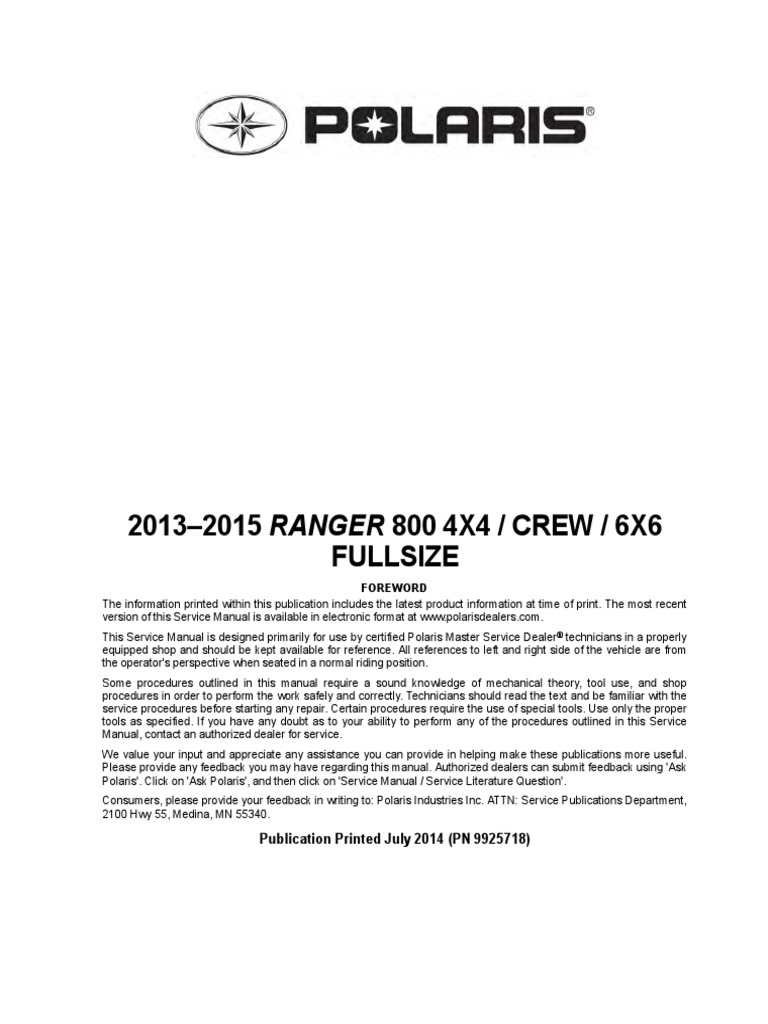 9925718 2014 Polaris Ranger 6X6 Service Manual | Transmission (Mechanics) |  Suspension (Vehicle)