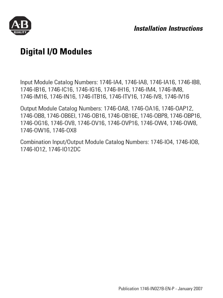 Digital IO Modulespdf Fuse Electrical Series And Parallel - 1746 ox8 wiring diagram