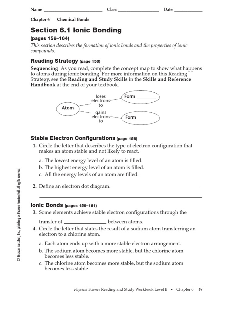 Ionic Bonds Worksheet Pearson Answers ionic bonds worksheet – Chemical Bond Worksheet