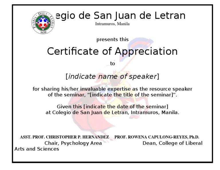 Certificate speaker template certificate speaker template yelopaper Gallery