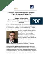 Robert Hernández expondrá sobre periodismo y nuevas tecnologías en Conferencia Periodismo en Debate 2014