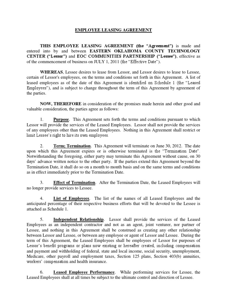 Employee leasing agreement fy 12 lease independent contractor platinumwayz