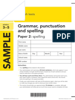 SAT KS2 English 2013 Specimen Grammar Punctuation Spelling Paper 2 Spelling