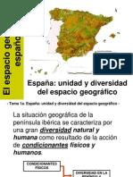1. España, Unidad y Diversidad Del Espacio Geográfico