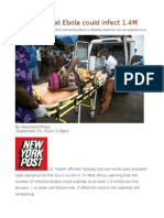 US Warns That Ebola Could Infect1.4M