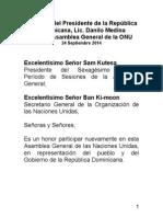 Discurso del Presidente Danilo Medina en la 69 Asamblea General de la Organización de las Naciones Unidas-ONU
