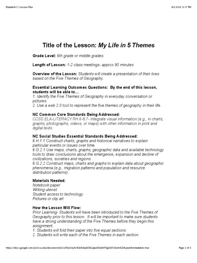 my life in 5 themes | Geografía | Plan de lección