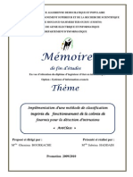Implémentation d'une méthode  Implémentation d'une méthode  Implémentation d'une méthode  Implémentation d'une méthode de classification  de classification  de classification  de classification  inspirée du  inspirée du  inspirée du  inspirée du         fonctionn fonctionn fonctionn fonctionnement de la colonie de  ement de la colonie de  ement de la colonie de  ement de la colonie de  fourmis  fourmis  fourmis  fourmis pour la détection d'intrusions pour la détection d'intrusions pour la détection d'intrusions pour la détection d'intrusions