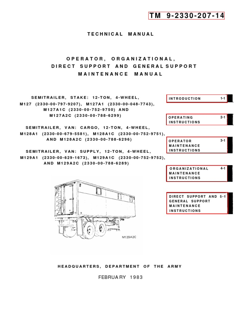 tm 9 2330 207 14 semitrailer, stake m127, van m128, van supply m129tm 9 2330 207 14 semitrailer, stake m127, van m128, van supply m129 tire switch