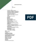 Especificaciones Técnicas Tarjeta de Red