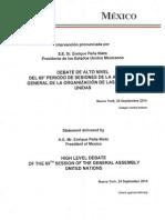 MX_ENUNGA 2014 – Mexico President Enrique Peña Nieto's United Nations General Assembly Speech Transcript