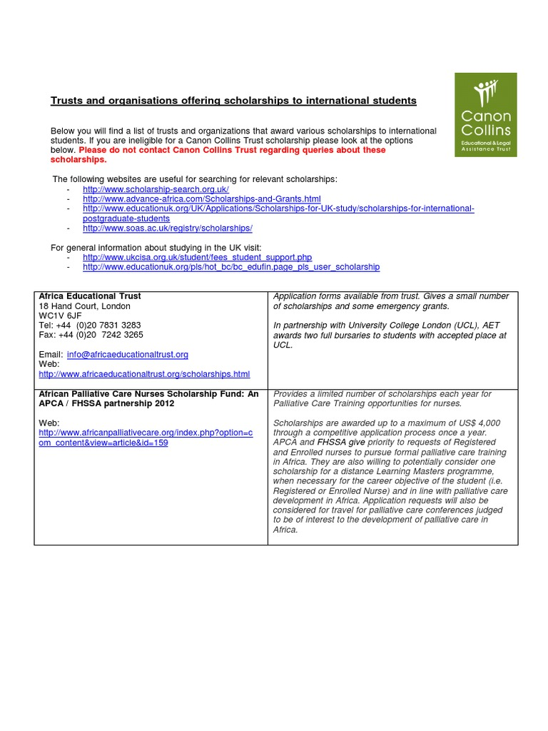 Trusts and Organisations Offering Scholarships to