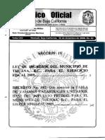 Ley de Ingresos Municipio Tijuana Ejercicio 2009