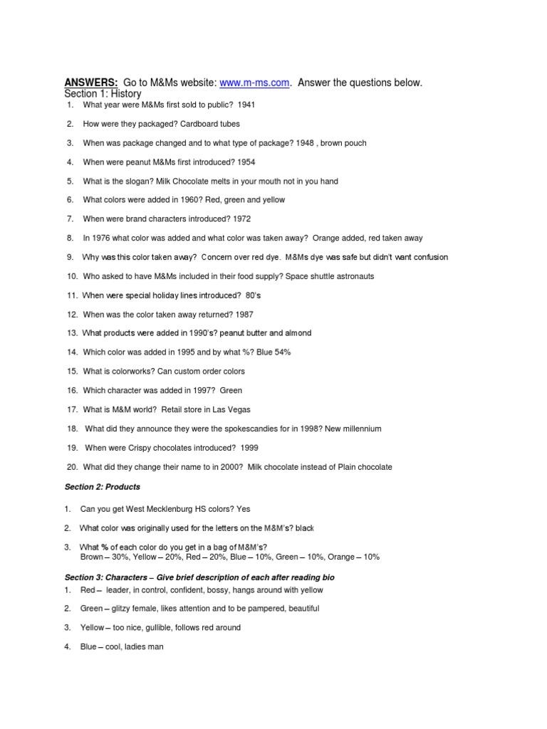 M&M Worksheet Answer Key