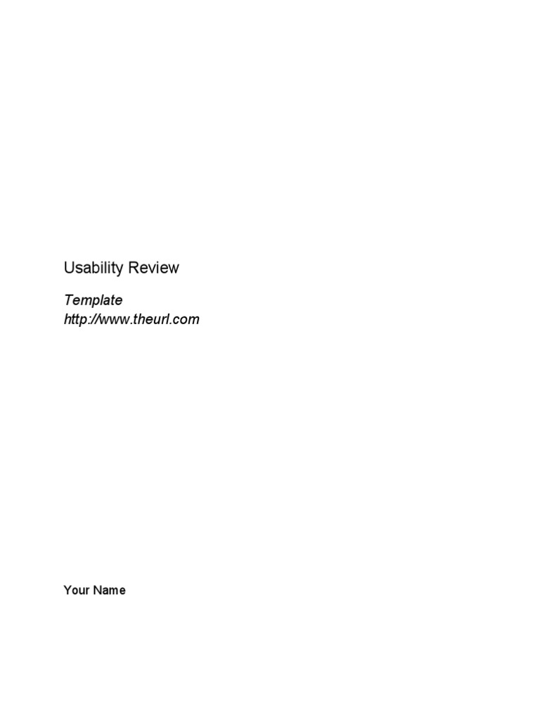 Usability Review Template   Hyperlink   Usability