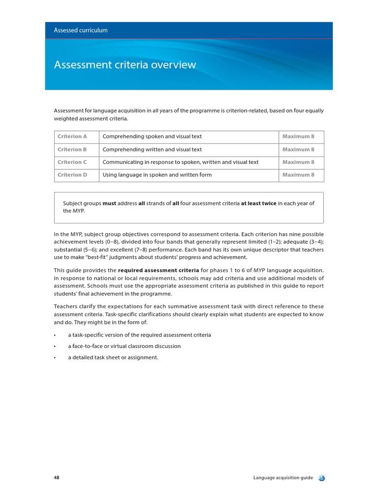 MYP: Language Acquisition Guide   Educational Assessment