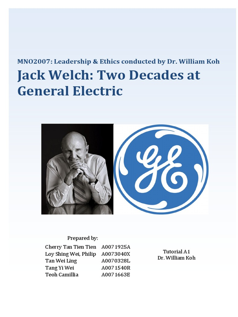 ge's two decade transformation Access to case studies expires six months after purchase date this tool is intended for individual use only publication date: december 12, 2000.