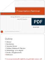 Format for Project seminar presentation