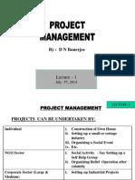 Lecture -1 to 3 (1. Proj Introduction, 2. Proj Definition & Life Cycle, 3. Proj Selection