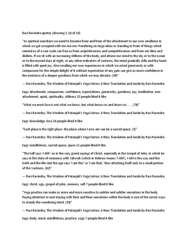Ravi Ravindra Quotes Yoga Patanjali