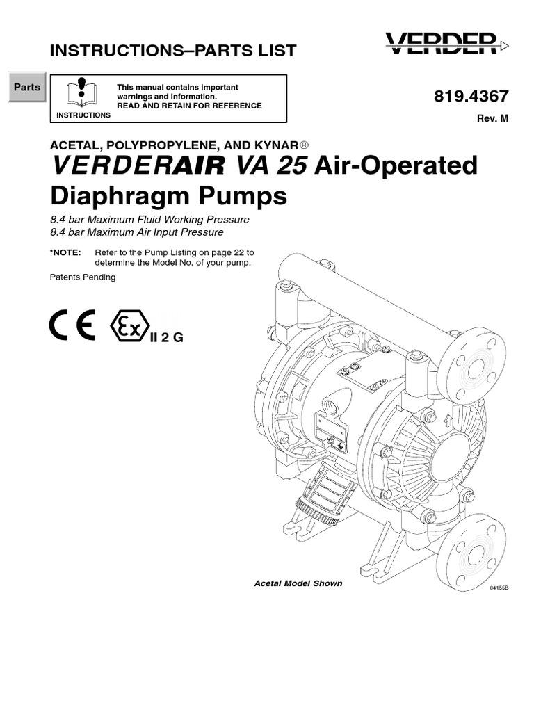 Verderair va 25 1 inch port diaphragm pump full manual pump valve ccuart Images
