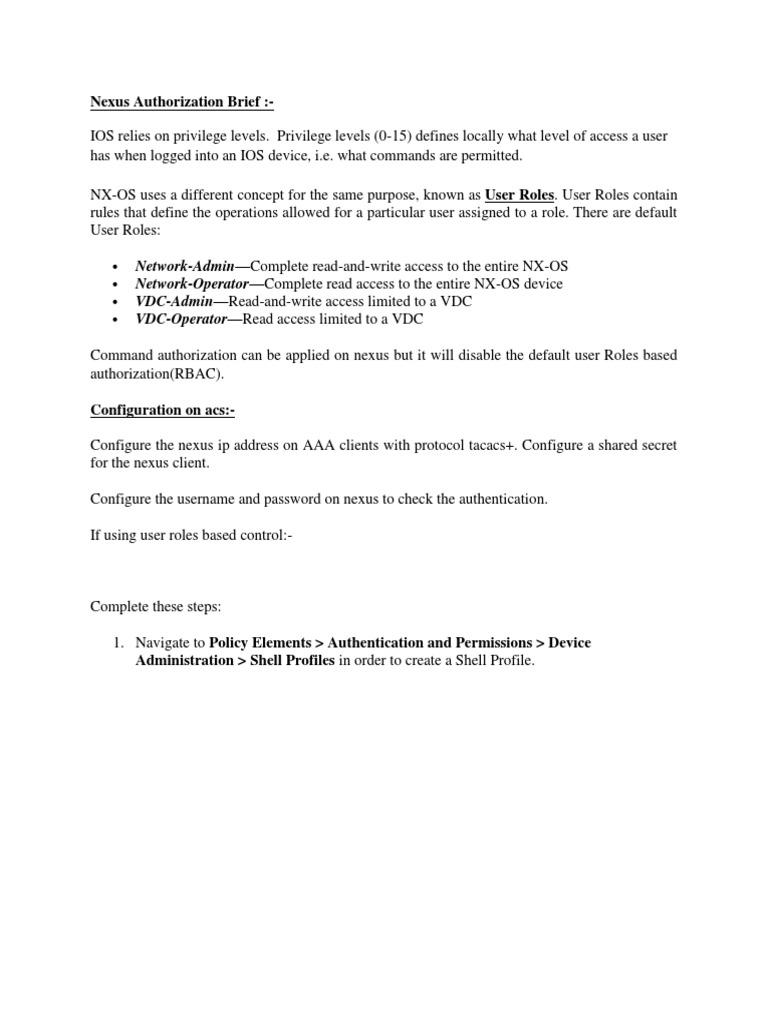 Nexus Configuration for ACS | Authentication | User (Computing)