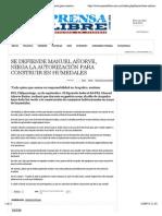 22-09-14 Se defiende Manuel Añorve, niega la autorización para construir en humedales - Prensa Libre Guerrero