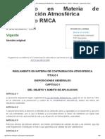 Reglamento en Materia de Contaminación Atmosférica - Reglamento RMCA - Bolivia - InfoLeyes - Legislación Online