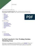 Lg Had Launched a New Washing Machine Marketing Essay