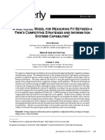 A Multilevel Model for Measuring Fit Between a Firm's Competitive Strategies and Information Systems Capabilities