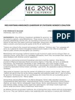 Meg Whitman Announces Leadership Of Statewide Women's Coalition