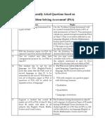 Problem Solving Assesment FAQ 2013
