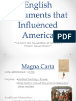 english documents that influenced america