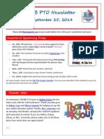 JFB PTO Newsletter 09-25-14