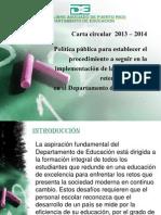 Carta Circular Sobre Retencion Escolar 2013-2014
